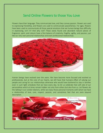 Send Online Flowers to those You Love