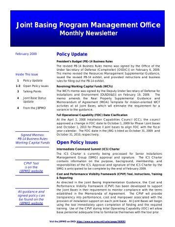 Joint basing program management office monthly newsletter - CNIC