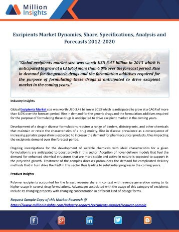 Excipients Market Dynamics, Share, Specifications, Analysis and Forecasts 2012-2020