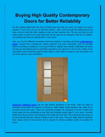 Buying High Quality Contemporary Doors for Better Reliability
