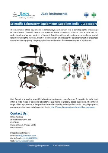 Scientific Laboratory Equipments Suppliers India- JLabexport