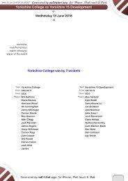 Yorkshire college v Yorkshire 15 13th June 2018