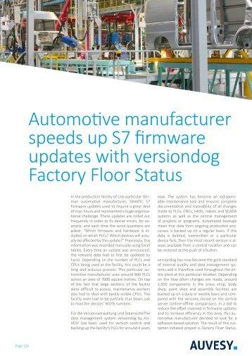 Case Study - versiondog Factory Floor Status