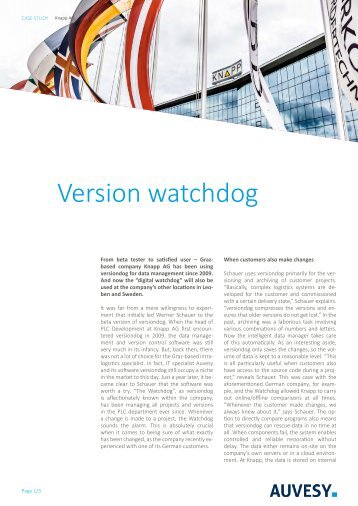 Case Study - Version watchdog at Knapp AG