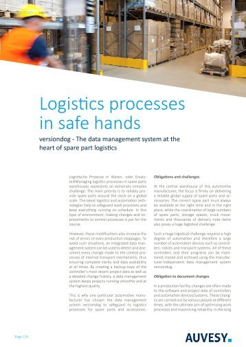 Technical article - Logistics processes in safe hands