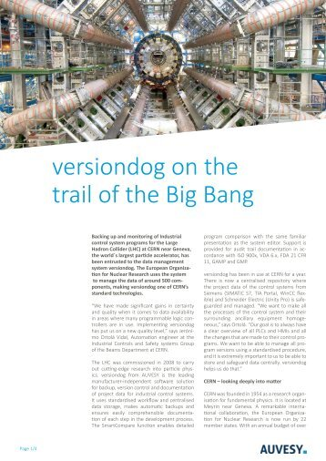 Case Study - versiondog on the trail of the Big Bang at Cern