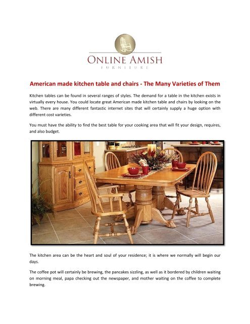 American Made Furniture >> American Made Kitchen Table And Chairs The Many Varieties