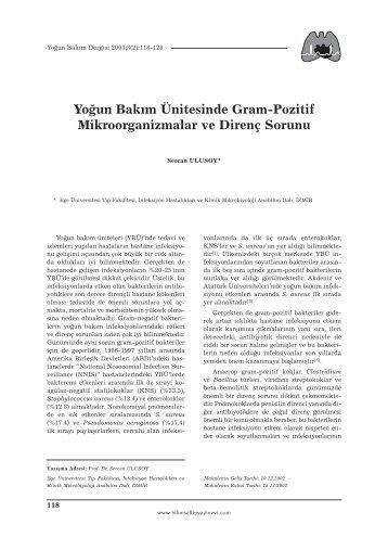 Yoğun Bakım Ünitesinde Gram-Pozitif Mikroorganizmalar ve Direnç ...