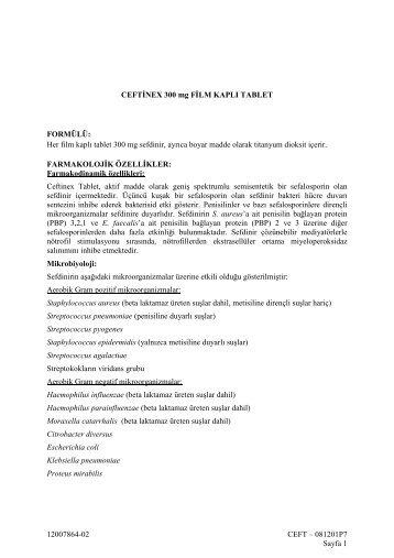 12007864-02 CEFT – 081201P7 Sayfa 1 CEFTİNEX 300 ... - Bilim İlaç