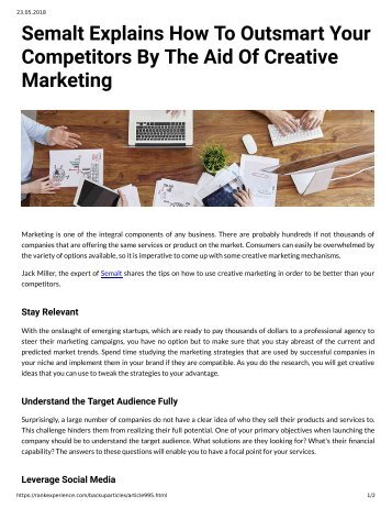 995 - Semalt Explains How to Oursmart Your Competitors by the Aid of Creative Marketing