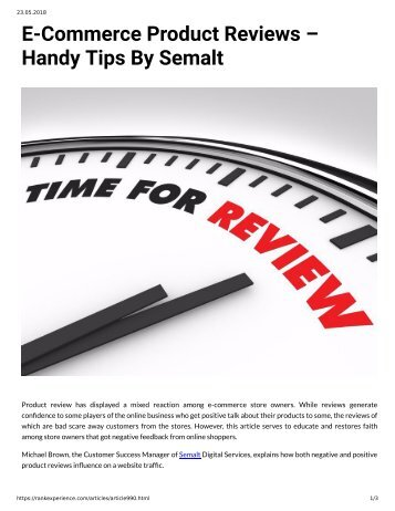 990 - E-Commerce Product Reviews - Handy Tips by Semalt