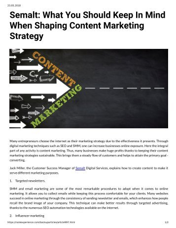 997 - Semalt What You Should Keep in Mind When Shaping Ccontent Marketing Strategy