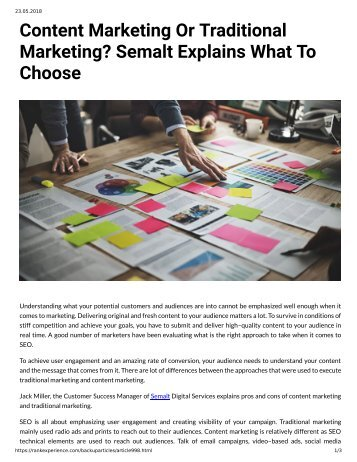 998 - Content Marketing or Traditional Marketing - Semalt Explains What to Choose