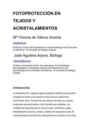 fotoprotección en tejidos y acristalamientos - Antonio Rondón Lugo
