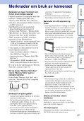 Sony DSC-W350D - DSC-W350D Consignes d'utilisation Norvégien - Page 3