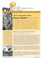 Kampf um natürliche Ressourcen Unterwegs für ... - Peace Watch