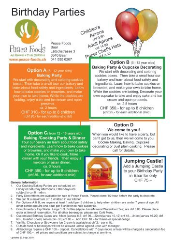 Birthday Parties - Peace Foods