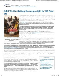 IRIN Global | AID POLICY: Getting the recipe right for US food aid ...