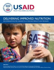 Delivering Improved Nutrition: Recommendations for Changes to U.S ...
