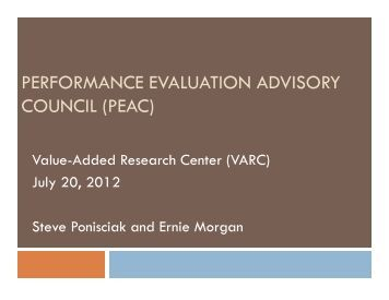 Value-Added Research Center (VARC) PEAC Presentation - July ...