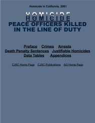 Homicide in California - Peace Officers Killed in the Line of Duty