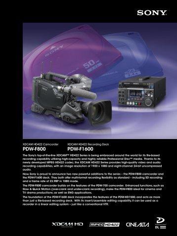 PDW-F800 PDW-F1600 - Videocraft