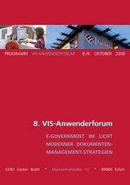 8. VIS-Anwenderforum E-GOVERNMENT IM LICHT MODERNER DOKUMENTEN ...