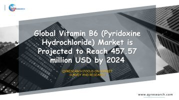 Global Vitamin B6 (Pyridoxine Hydrochloride) Market is Projected to Reach 457.57 million USD by 2024