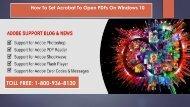 Dial +1-800-936-8130, To Set Acrobat to Open PDFs on Windows 10