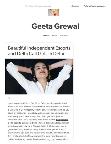 Geeta Grewal — Beautiful Independent Escorts and Delhi Call Girls.._