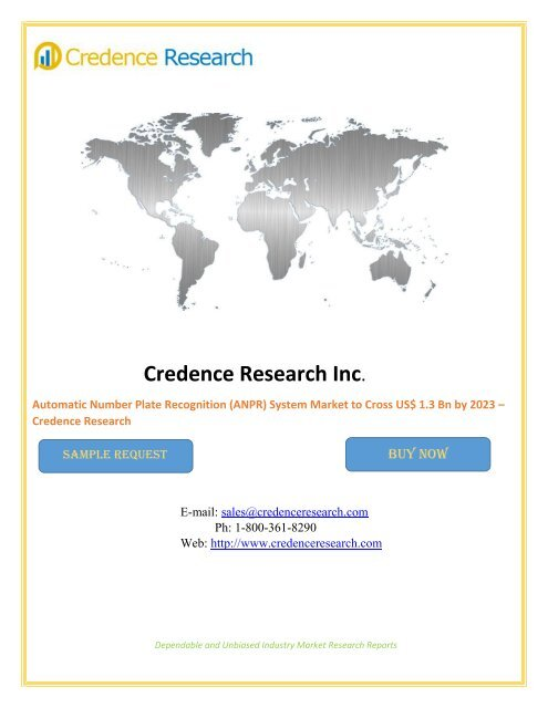 Automatic Number Plate Recognition (ANPR) System Market to Cross US$ 1.3 Bn by 2023 – Credence Research
