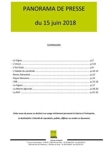 Panorama de presse quotidien du 15-06-2018