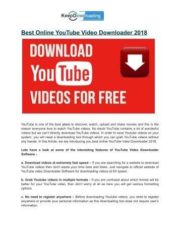 Best Online Youtube Video Download 2018