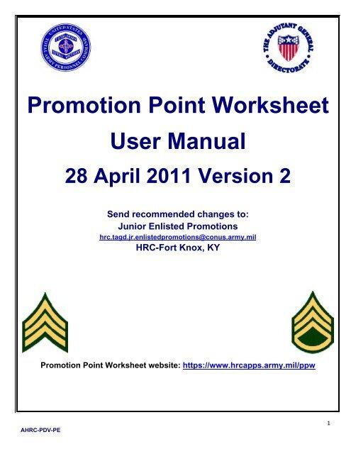 Promotion Point Worksheet User Manual