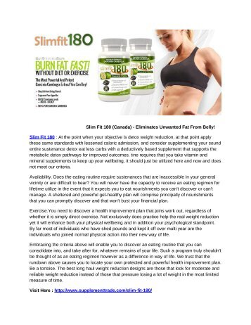 Slim Fit 180 (Canada) - Eliminates Unwanted Fat From Belly!