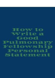 How to Write a Good Pulmonary Fellowship Personal Statement