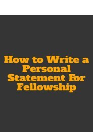 How to Write a Personal Statement For Fellowship