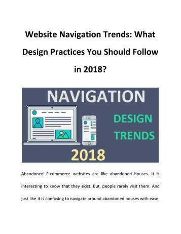Website Navigation Trends: What Design Practices You Should Follow in 2018?