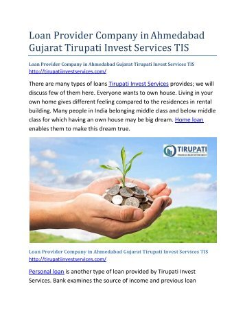 Loan Provider Company in Ahmedabad Gujarat Tirupati Invest Services TIS