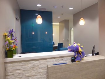 Front desk designed to make children and parents feel welcome