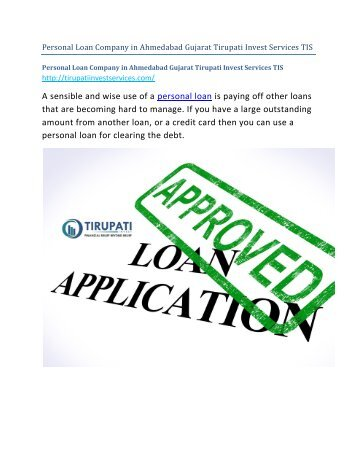 Personal Loan Company in Ahmedabad Gujarat Tirupati Invest Services TIS