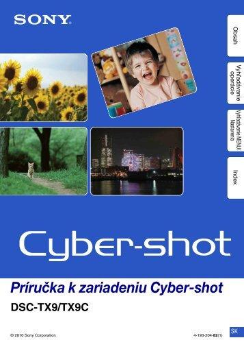 Sony DSC-TX9 - DSC-TX9 Consignes d'utilisation Slovaque