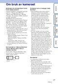 Sony DSC-TX9 - DSC-TX9 Consignes d'utilisation Norvégien - Page 3