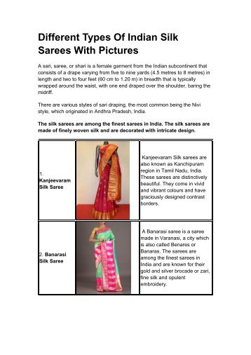 Different Types Of Indian Silk Sarees With Pictures