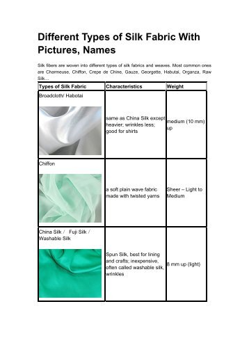 Different Types of Silk Fabric With Pictures
