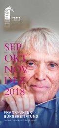 Frankfurter Bürgerstiftung - Neues Programm von September bis Dezember 2018