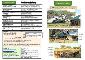 Corfield's Camp Tarangire flier 2018, 2019