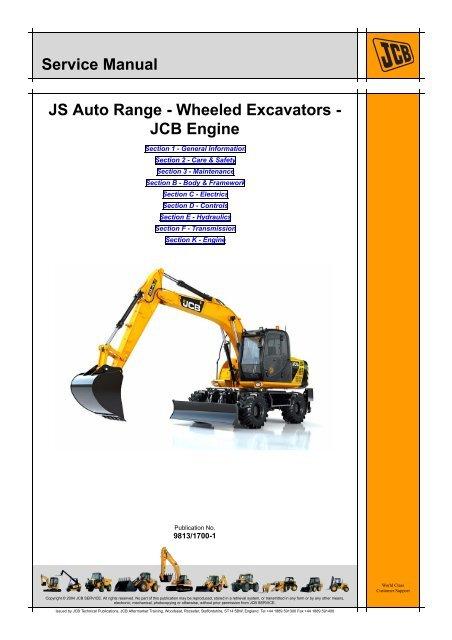 JCB JS145W, JS165W Wheeled Excavator Service Repair Workshop