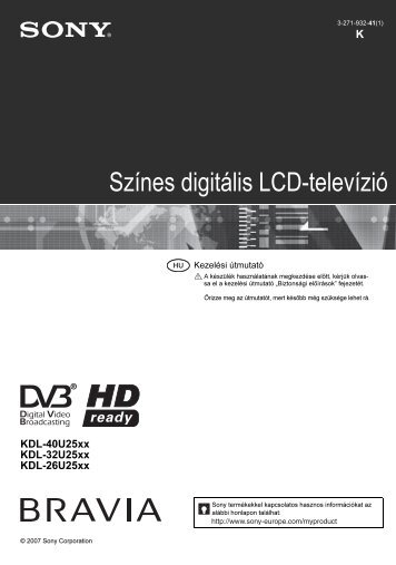 Sony KDL-40U2520 - KDL-40U2520 Consignes d'utilisation Hongrois