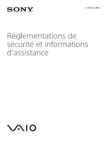 Sony SVF13N1E4E - SVF13N1E4E Documenti garanzia Francese